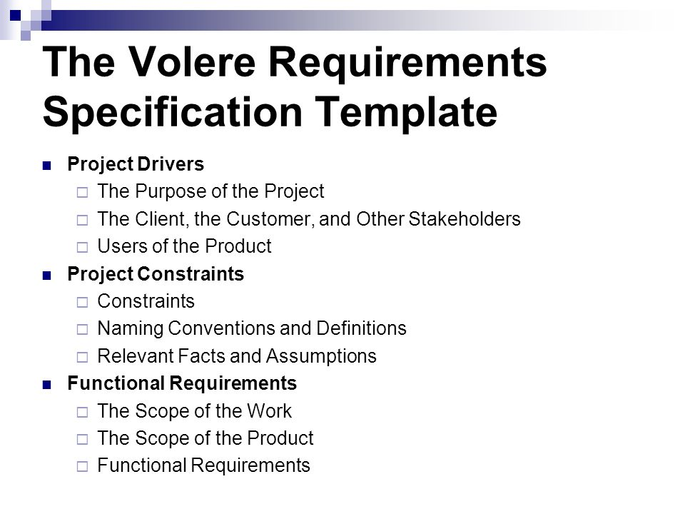 User requirements specification template Homework Service - software specification template