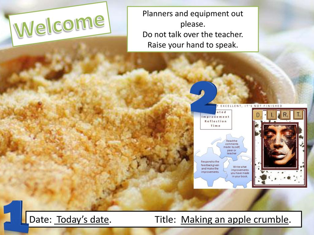 Peer Crumble Welcome Date Today S Date Title Making An Apple Crumble Ppt