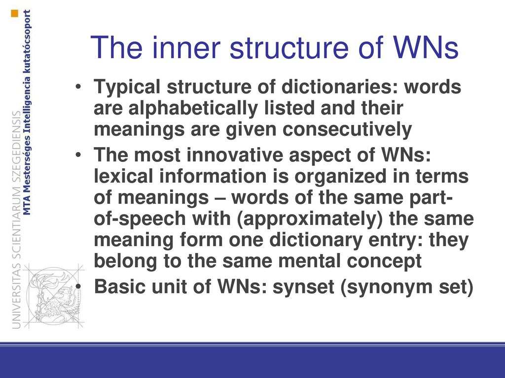 Synonym Innovativ Ontologies Introduction To Computational Linguistics 23 March