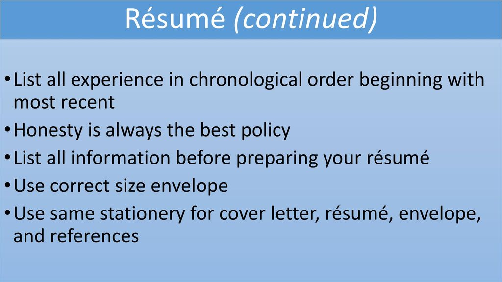 182 Writing a Cover Letter and Preparing a Resume\u0027 - ppt download
