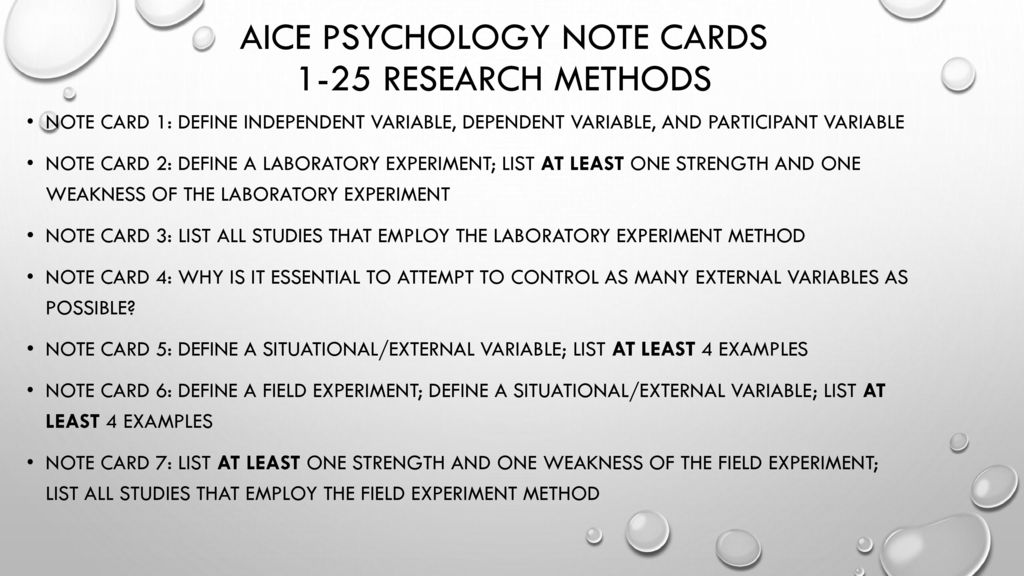 AICE Psychology Note Cards - ppt download