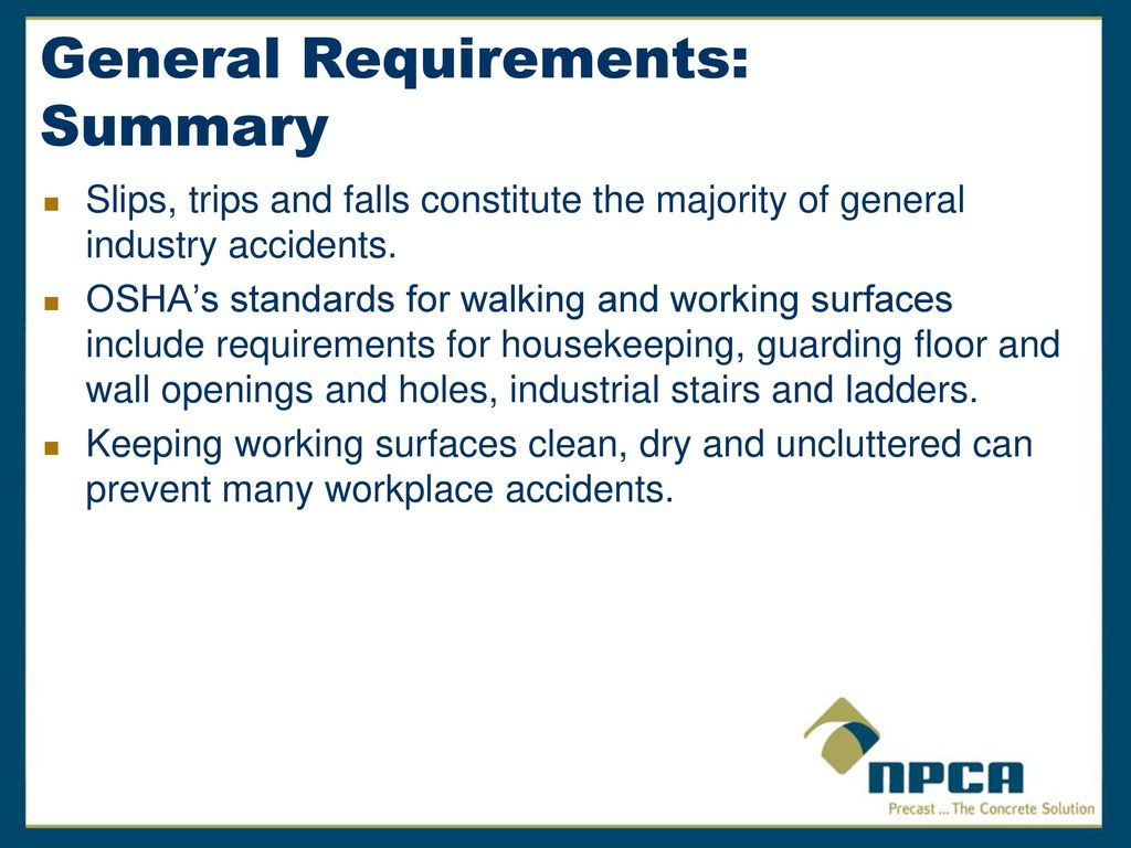 Housekeeping Openings Walking And Working Surfaces Ppt Download
