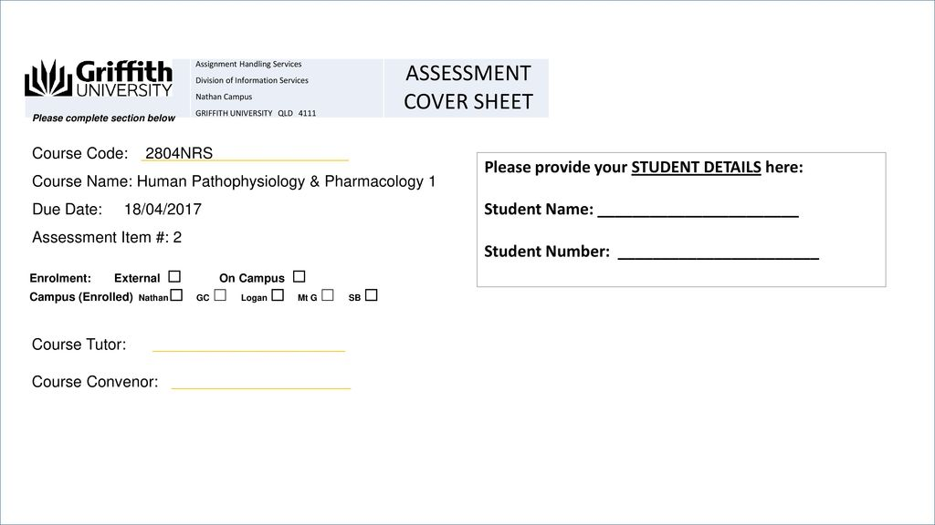 ASSESSMENT COVER SHEET - ppt download