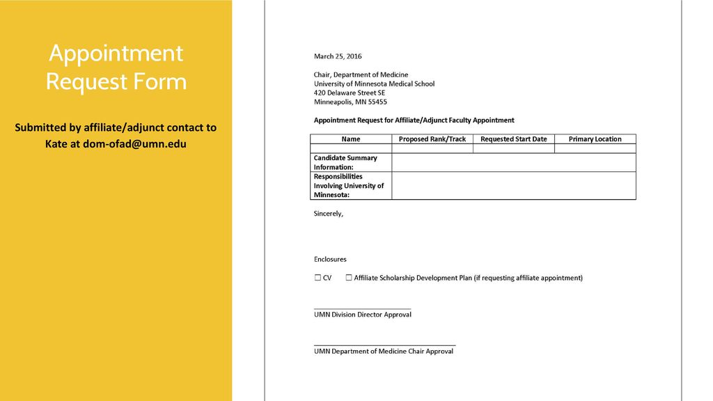 Affiliate and Adjunct Appointment Process - ppt download