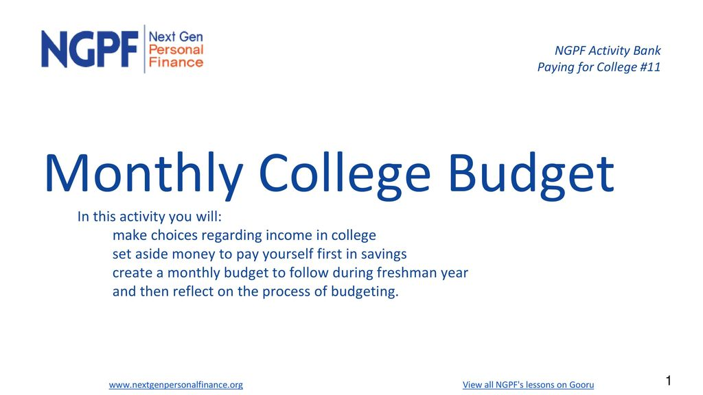 NGPF Activity Bank Paying for College #11 - ppt download