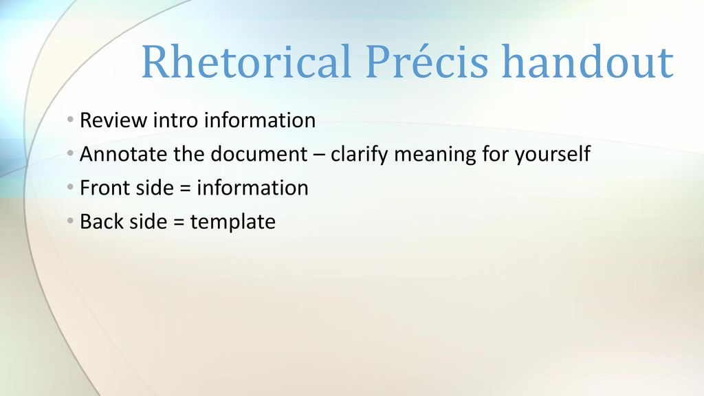 Rhetorical Precis An Introduction