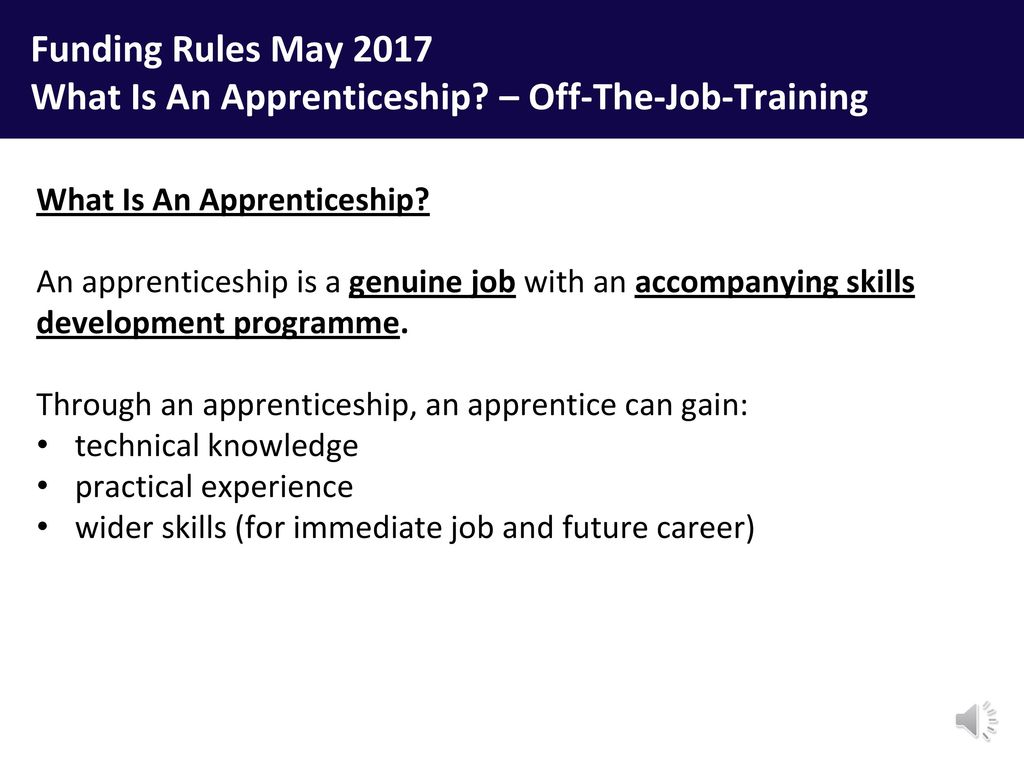 Apprenticeship Job Apprenticeships From Policy To Practice Off The Job Training