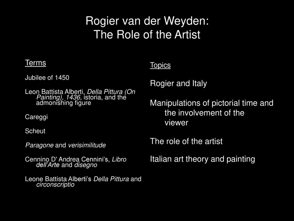 Della Pittura On Painting Rogier Van Der Weyden The Role Of The Artist Ppt Download