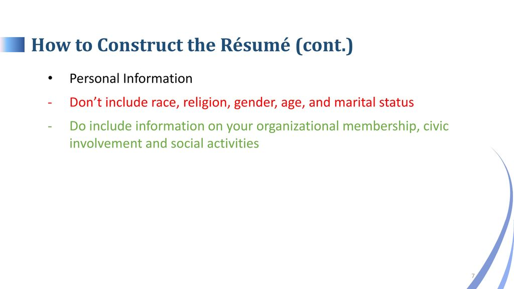 Conducting a Winning Job Campaign Constructing the Résumés - ppt