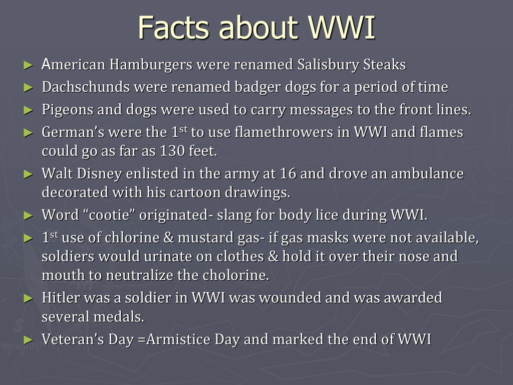 Facts About Wwi World War I Ppt Download