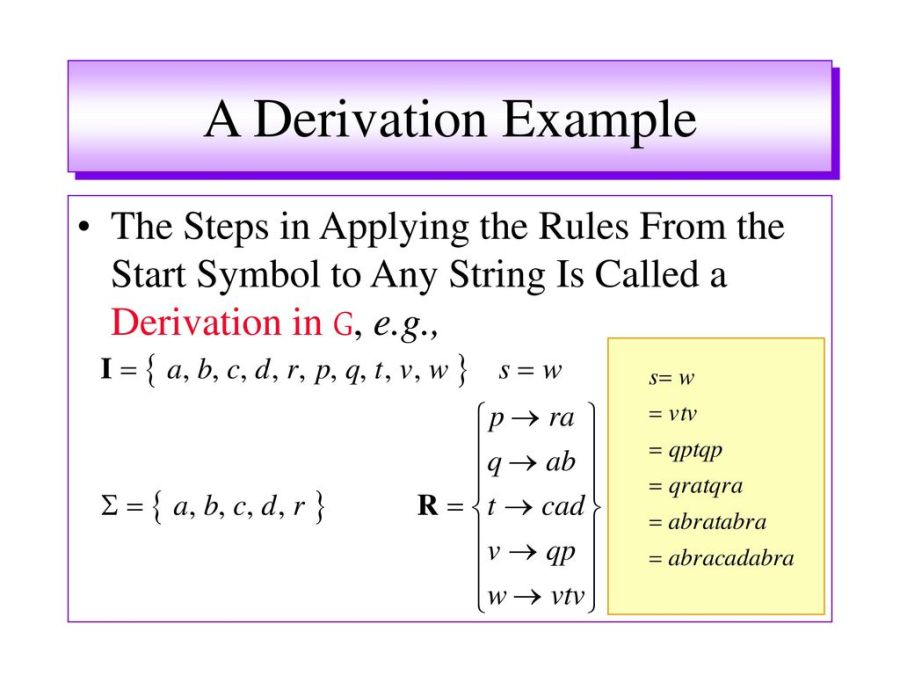25 A Derivation Example The Steps in Applying the Rules From the Start Symbol to Any String Is Called a Derivation in G, e.g.,