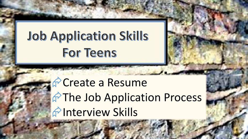 Job Application  Interview Skills - ppt download