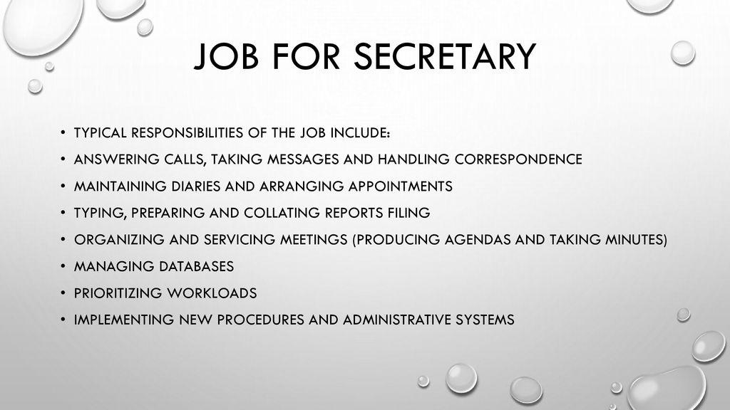 Secretary job description - ppt download