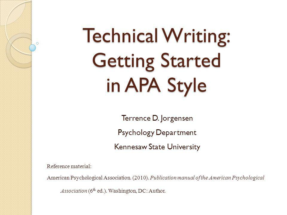 Technical Writing Getting Started in APA Style - ppt video online