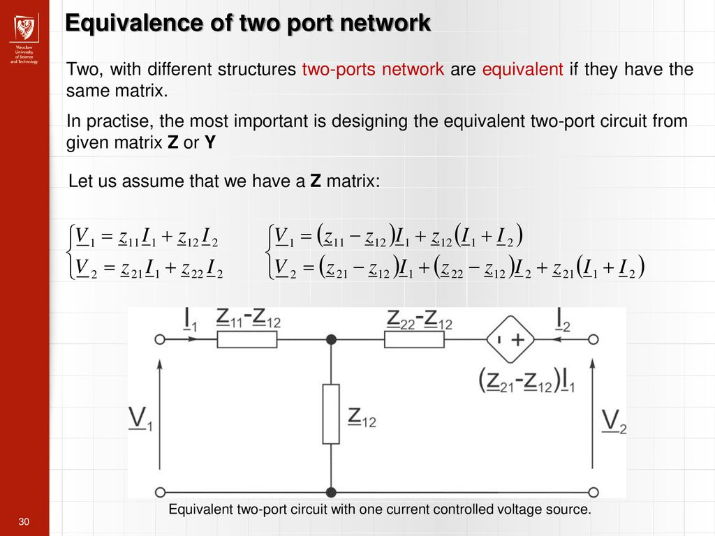 Port Network Two Port Networks Adam Wąż Ppt Download
