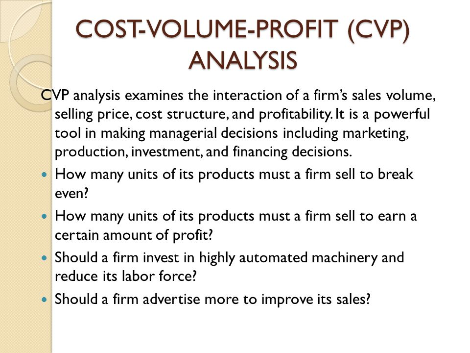 COST-VOLUME-PROFIT (CVP) ANALYSIS - ppt download - cost of sales analysis