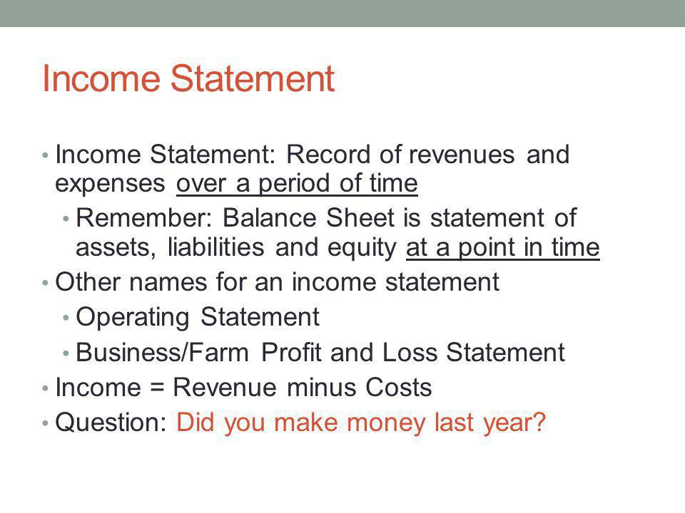 Farm Income Statement Analysis - ppt download
