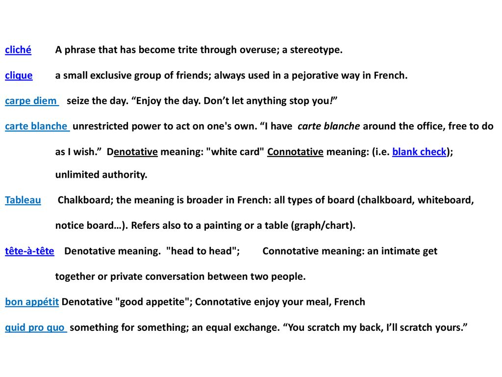 Carte Blanche French Foreign Words In The English Language Ppt Download