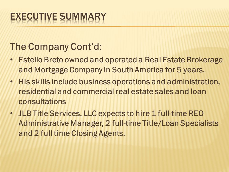 Real Estate Title Company Business Plan - ppt video online download