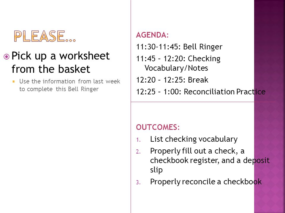 Please\u2026 Pick up a worksheet from the basket AGENDA - ppt download