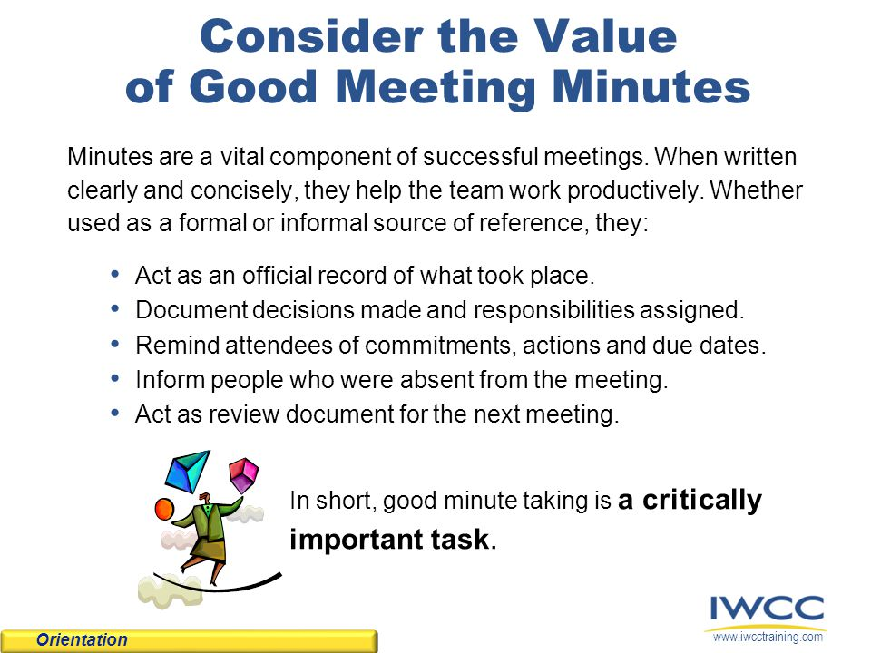 Tips  Techniques for Writing Meeting Minutes - ppt video online
