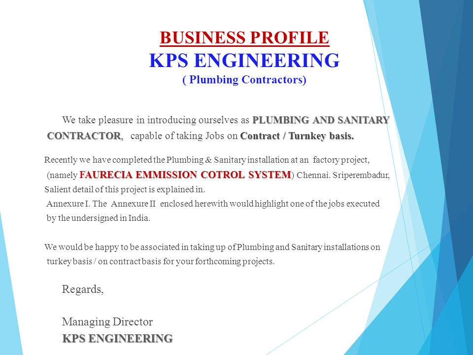 Company profile for PLUMBING AND SANITARY WORKS - ppt video online