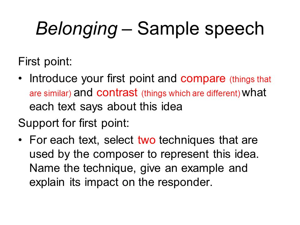 Belonging Speech sample - ppt video online download