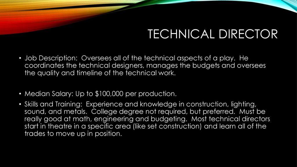 Theatre professions Theatre professions Director Job Description A