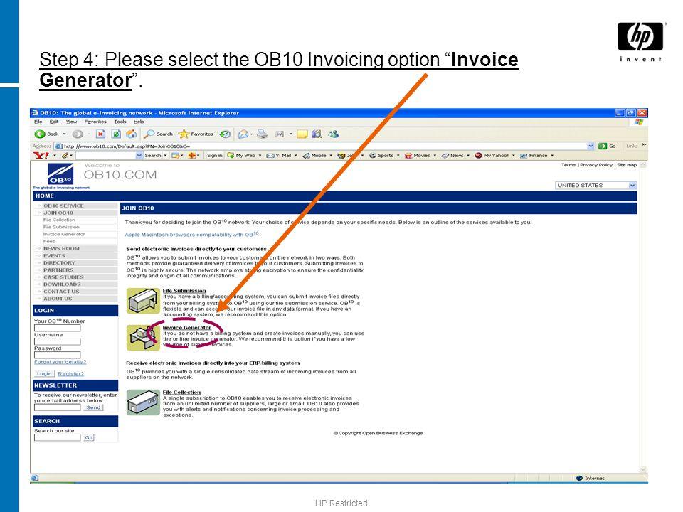 OB10 Invoice Generator Registration Guide - ppt download