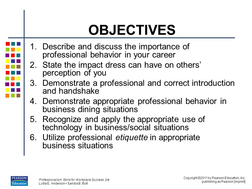 OBJECTIVES Describe and discuss the importance of professional