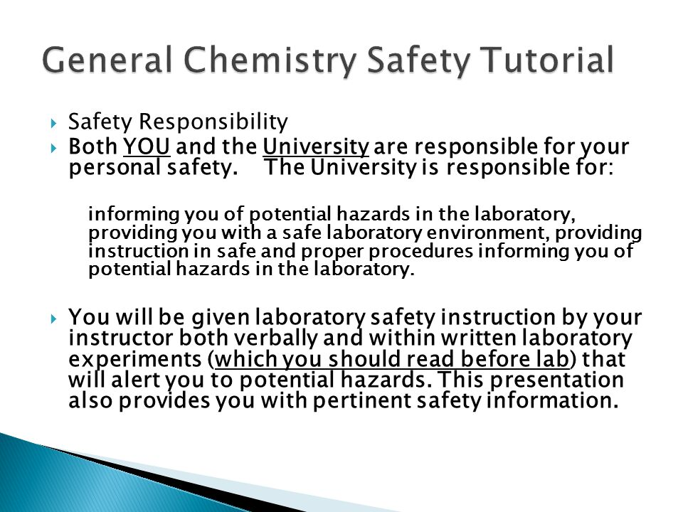 General Chemistry Safety Tutorial - ppt video online download - chemistry safety