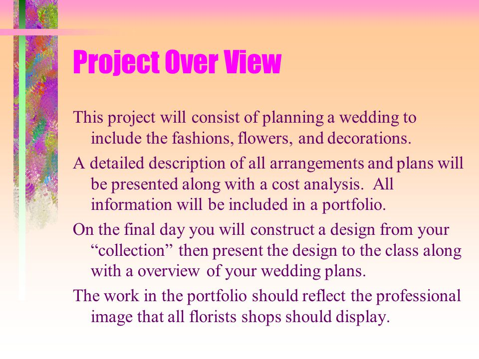 Floriculture Wedding Planning Portfolio - ppt video online download - Wedding Plans