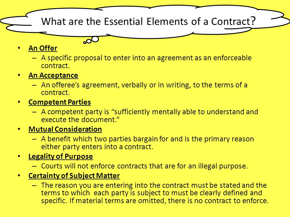 Essential elements of a contract College paper Academic Service