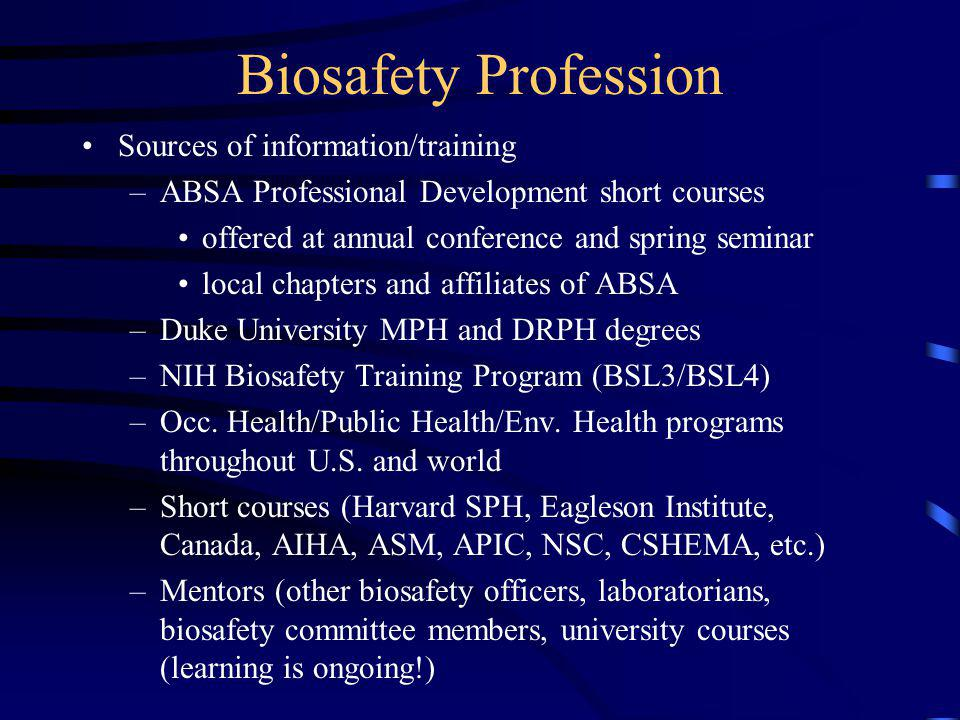 Professional Credentials in Biosafety ABSA International - akrossinfo - biosafety officer sample resume