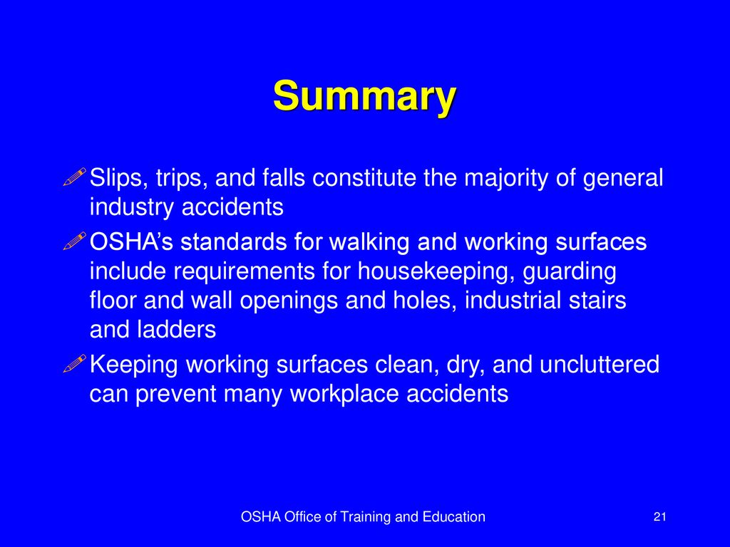 Housekeeping Openings Walking Working Surfaces Ppt Download