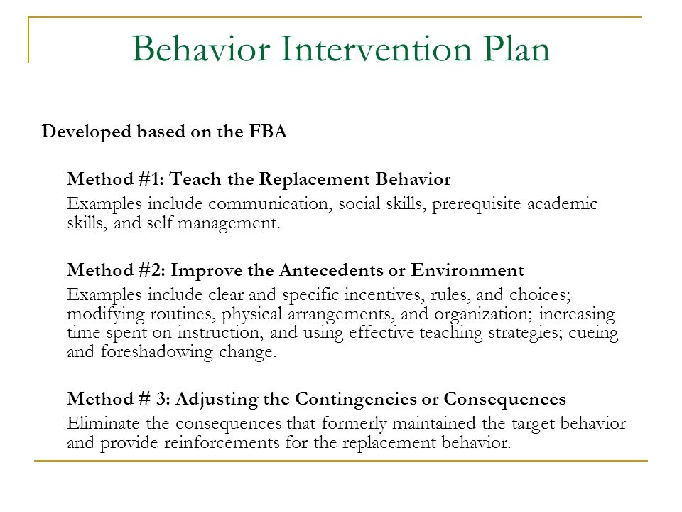 Functional Behavioral Assessment and Behavior Intervention Plans