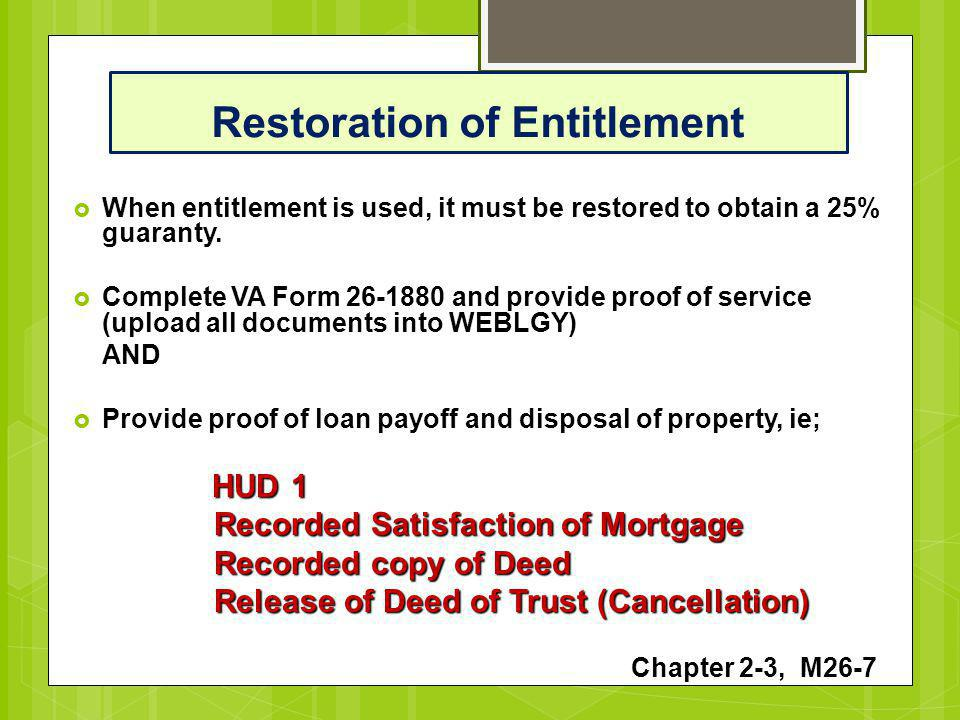Department of Veterans Affairs Puerto Rico Lender Training - ppt - satisfaction of mortgage form