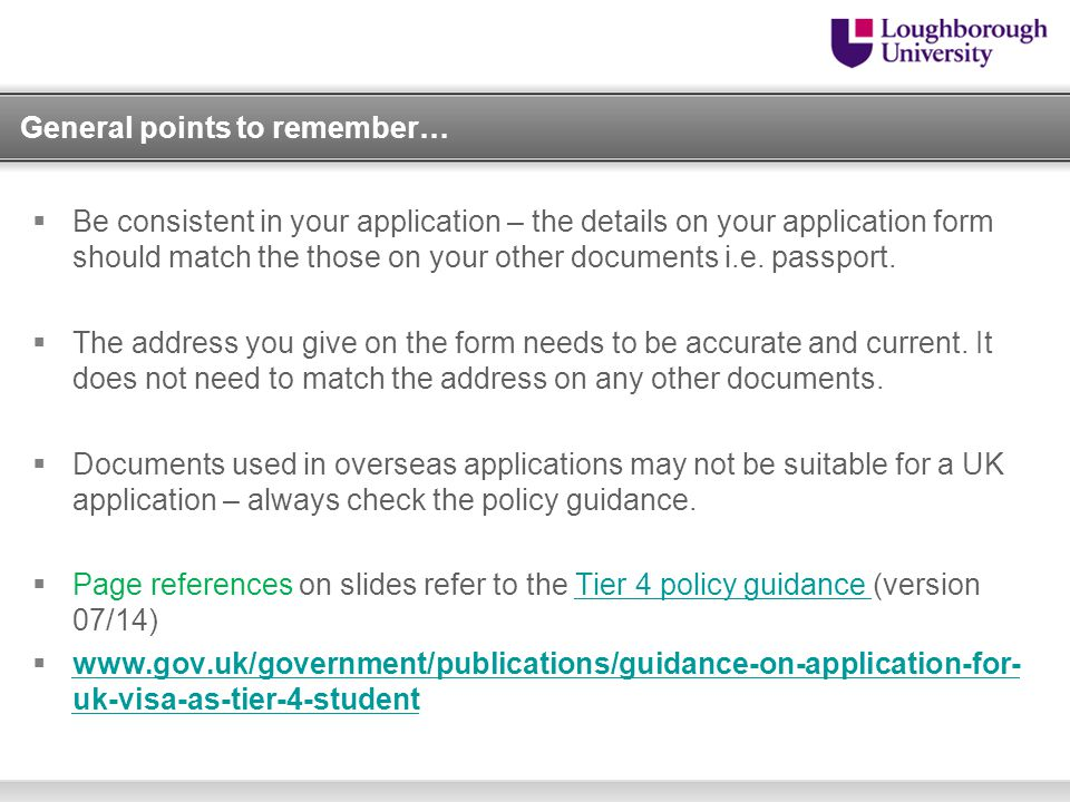Making a Tier 4 (General) Student application in the UK - ppt video - general application form