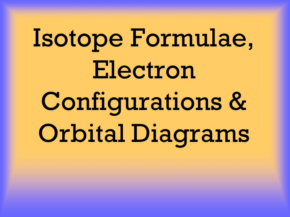 Isotope Formulae, Electron Configurations  Orbital Diagrams - ppt
