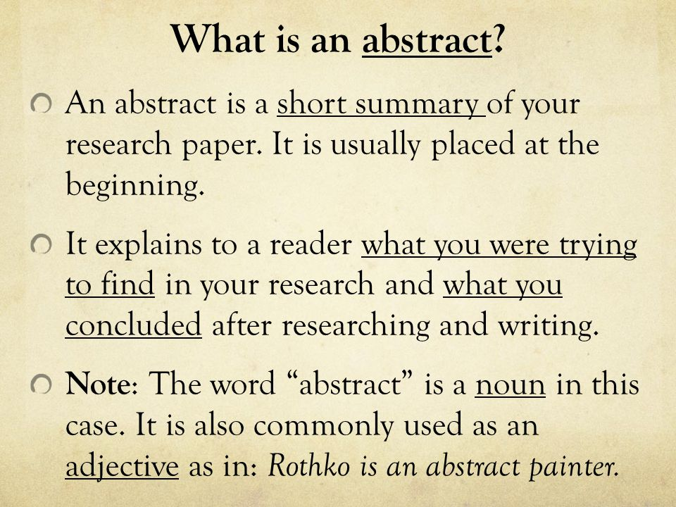 How to Write an APA style Abstract - ppt download