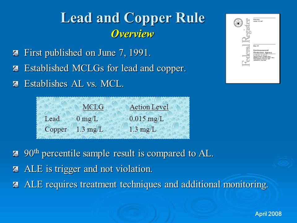Lead And Copper Rule Short Term Revisions And