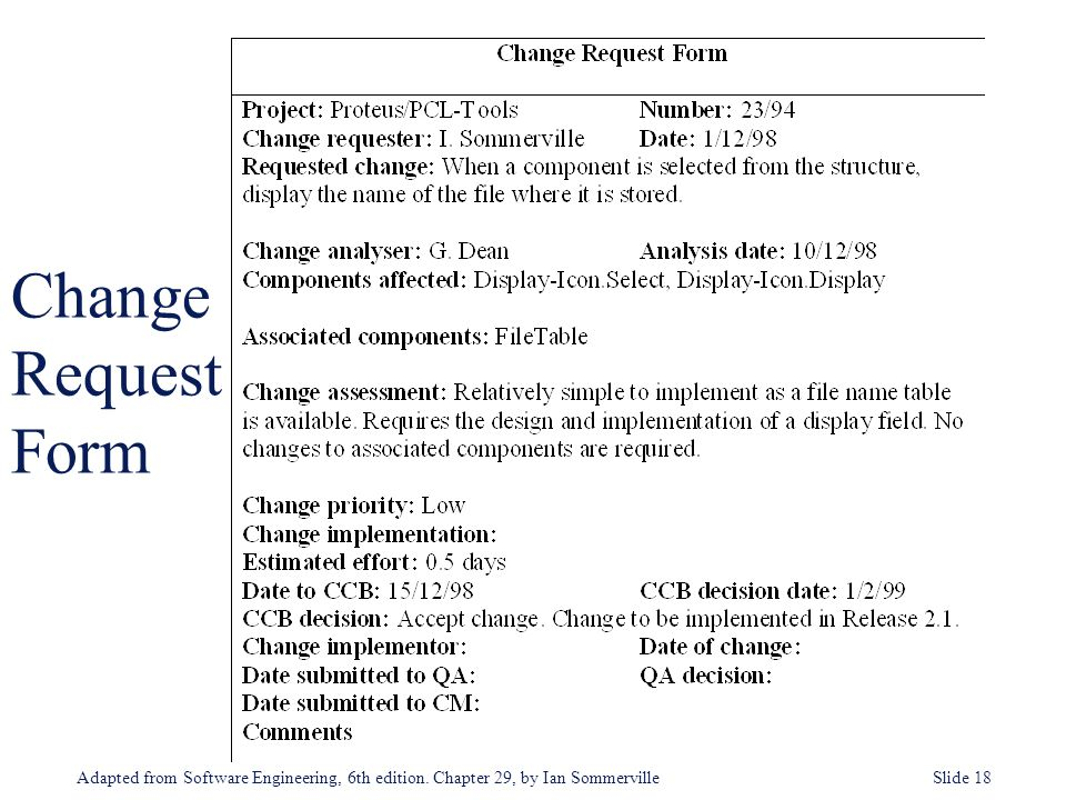 Configuration and Change Management - ppt download - software request form