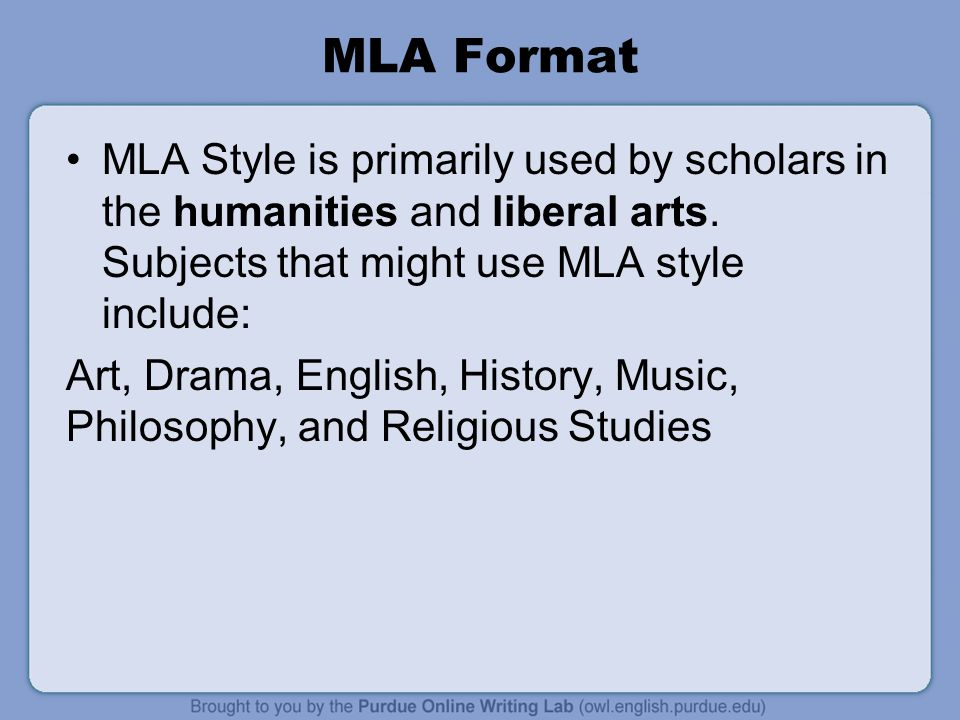 Writing formats mla Research paper Help