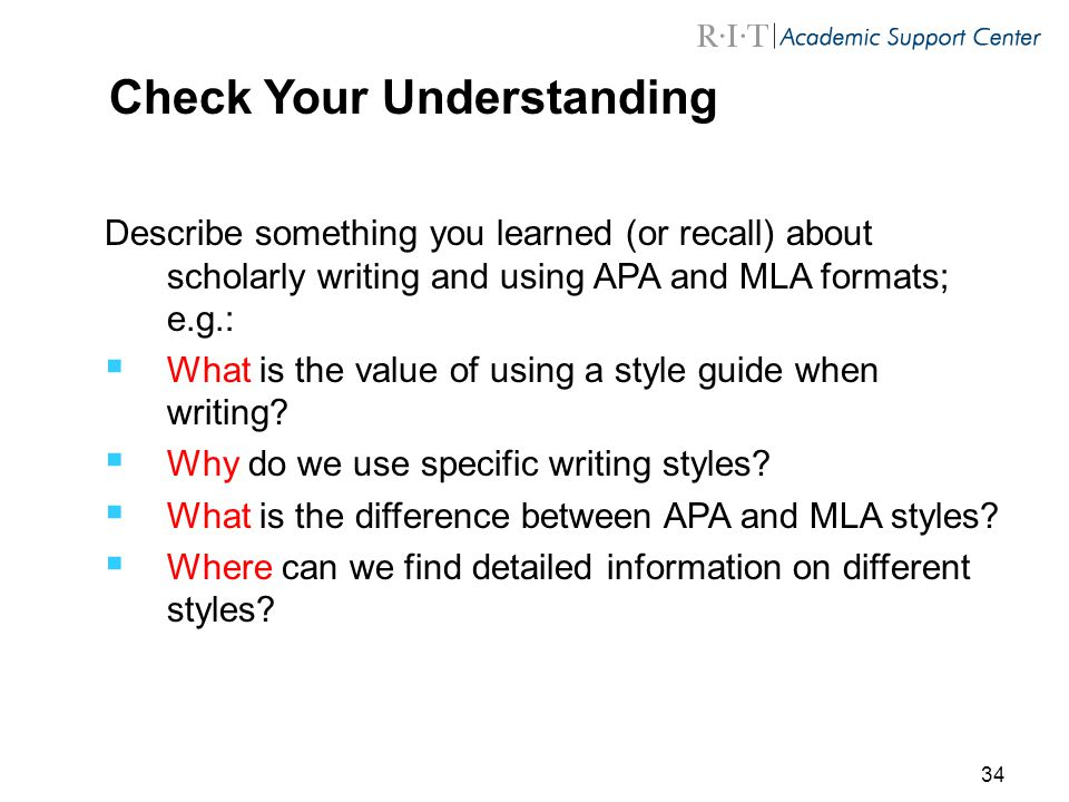 Scholarly Writing Using APA and MLA Styles - ppt video online download
