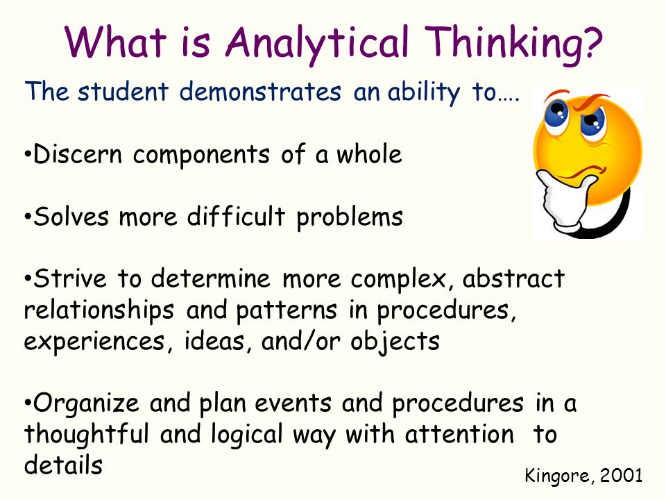 Developing Analytical Thinking in K-2 Learners - ppt download