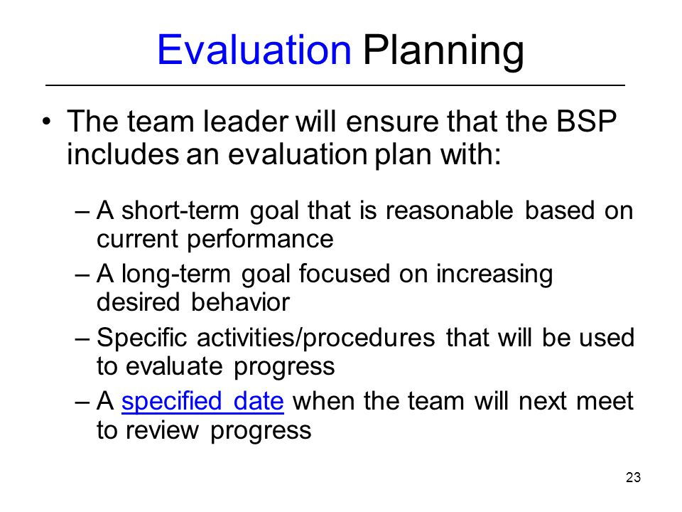 Basic FBA to BSP Module 6 Implementation and Evaluation Planning