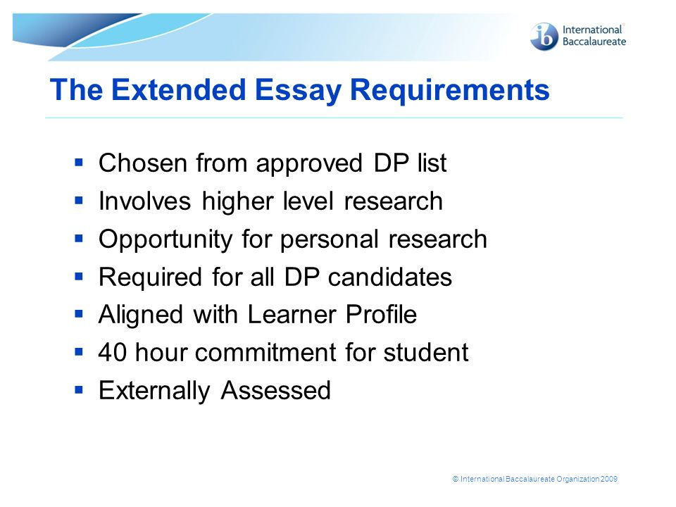 International baccalaureate extended essay topics Custom paper