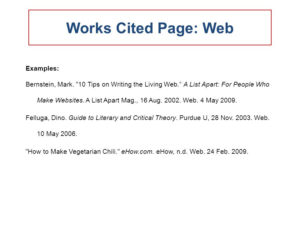 Works cited page format for websites Term paper Academic Service