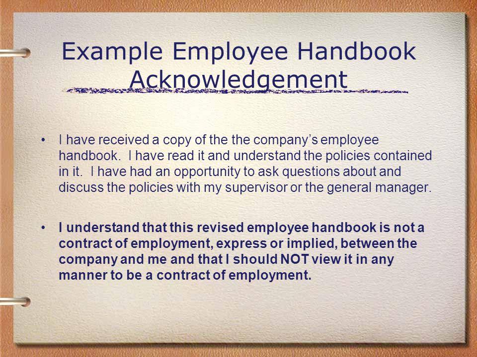 Alternatives\u0027 View of Employee Handbooks - ppt download