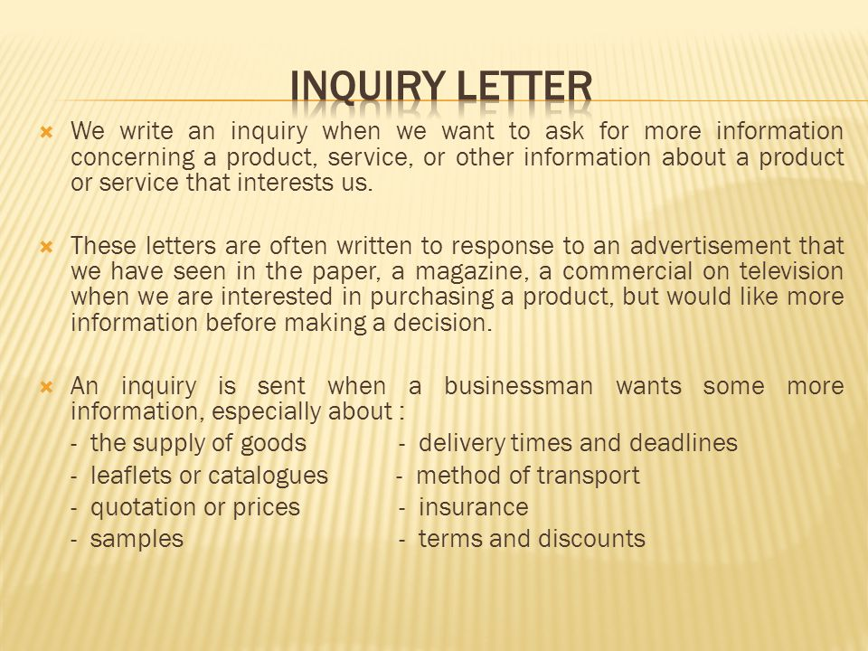 INQUIRY LETTER AND RESPONSE OF INQUIRY LETTER - ppt video online